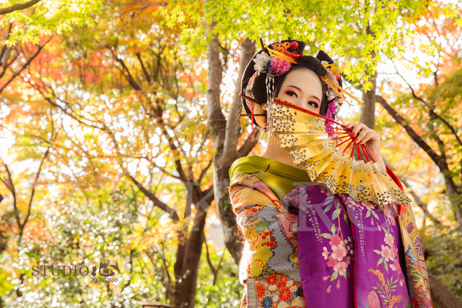 京都 花魁 体験 写真 撮影 カメラ 化粧 ヘアメイク 紅葉 旅行 観光