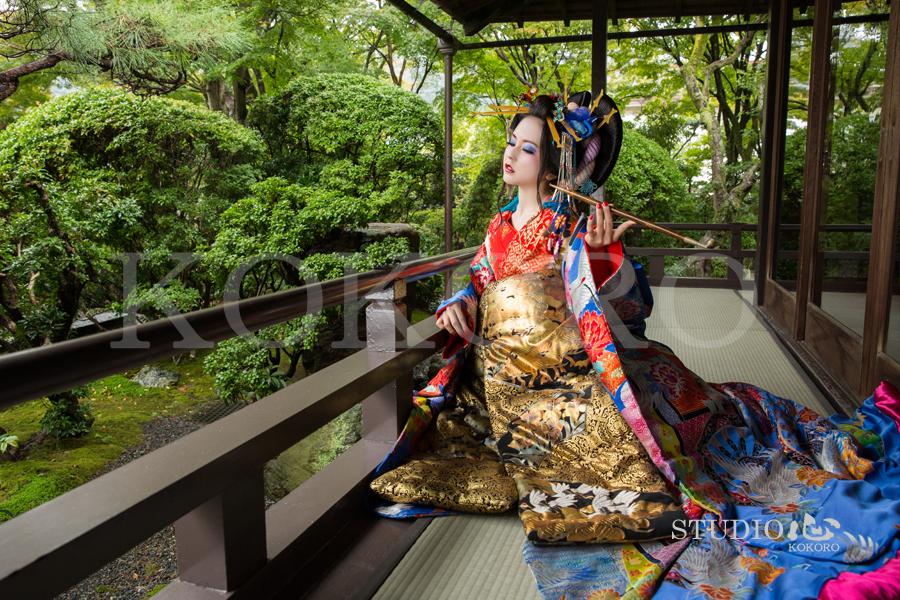 京都 花魁体験 野外撮影 庭園
