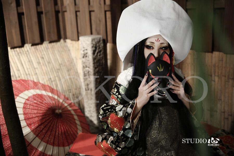 京都 花魁体験 狐の嫁入り 着物 化粧 ヘアメイク
