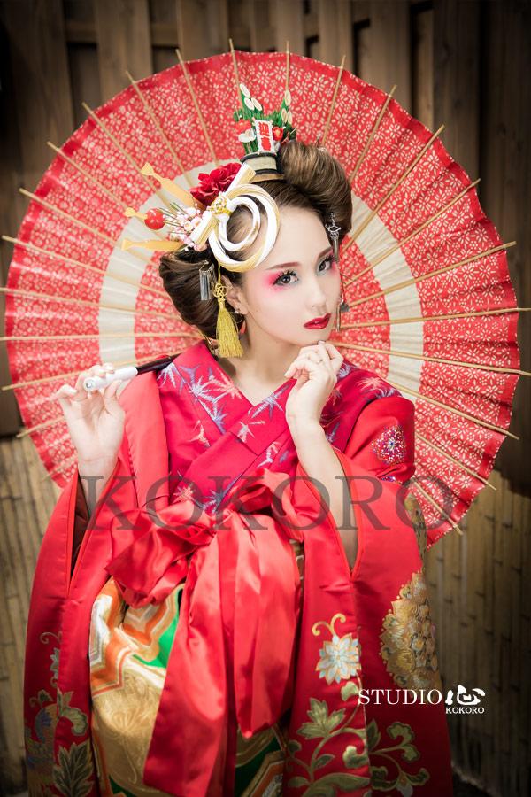 京都 嵐山 花魁体験 着物 化粧