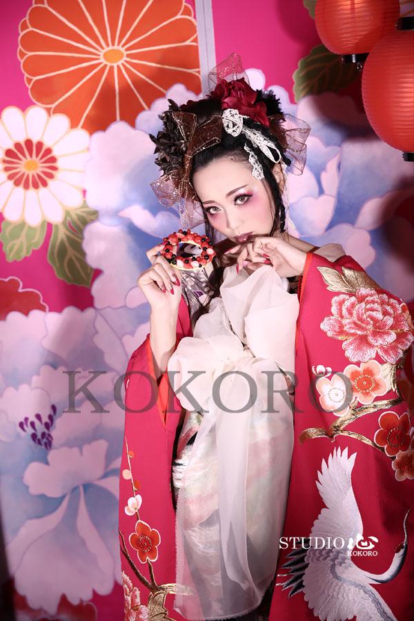 京都 花魁体験 ピンク背景 バレンタイン