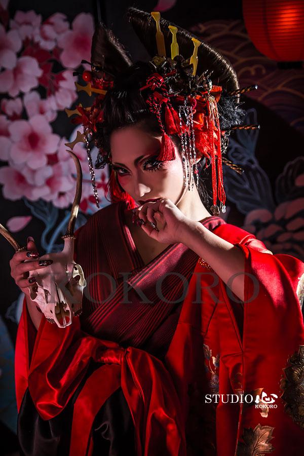 京都 花魁体験 節分 着物 ヘアメイク